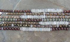 Moonstone and Garnet Bracelet Moonstone by lelizabethjewelry