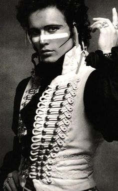 "Adam Ant of ""Adam and the Ants"" - 1980 New Romantic movement. from ""Kings of the Wild Frontier"" Adam Ant, Pop Punk, Glam Rock, Ant Music, Dark Romance, Musica Pop, We Will Rock You, New Romantics, Muse"