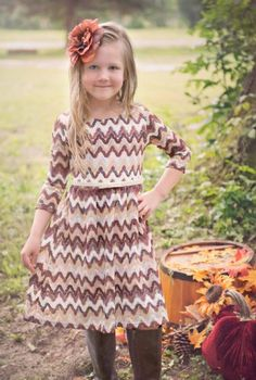 Tween Fall Chevron Dress 7 to 16 Years Now in Stock at Cassie's Closet