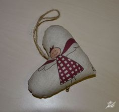 christmas heart - patchwork, anjelik v srdiecku