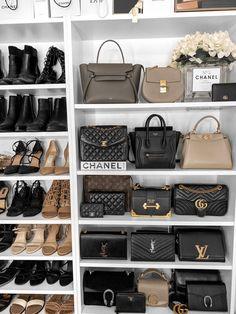 Closet organisation / handbag collection #closet #closetgoals #wardrobe #closetorganisation #interiordecor #interiorgoals Closet Organisation, Organization Ideas, Designer Crossbody Bags, Thrift Fashion, Celine Bag, Prada Bag, Replica Handbags, Images Gif, Luxury Handbags