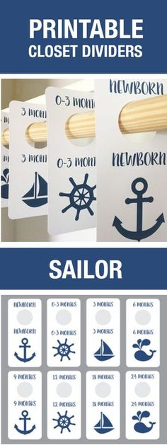 Sailor Nursery Theme, Sailor Closet Dividers, Baby Boy, Nursery, Printable, DIY Nursery, Baby Room, Closet Organization, Boy Baby Shower, Baby Shower GIft, Baby Shower Decorations, Cheap, Navy, Nautical Theme