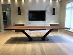 Live edge, black walnut dining table, railroad track and steel base. 120 inches … – Food for Healty Wood Slab Dining Table, Large Dining Room Table, Wood Table Design, Dining Table Design, Modern Dining Table, Long Dining Tables, Walnut Table, Walnut Wood, Esstisch Design