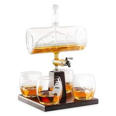 Royal Decanters Sailing Ship - Perfect Gift Set - Stainless Steel Spigot Liquor Dispenser - 4 Etched World Map Glasses - for Brandy Tequila Bourbon Scotch Rum -Alcohol Related Gifts for Dad Whiskey Decanter, Whiskey Glasses, Tequila, Vodka, Rum Alcohol, Gifts For Boaters, Liquor Dispenser, Scotch Whiskey, Whisky