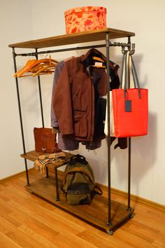 Clothes Rail With Racks And Hook Industrial by NaiveWoodFactory