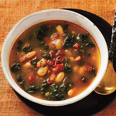 White Bean Soup with Kale and Chorizo- I will be making a vegetarian version of this very soon.