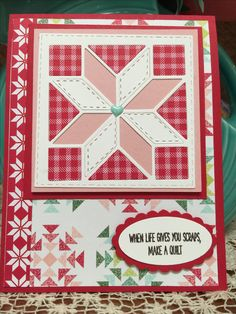 I had to use the Quilted Christmas Suite from Stampin Up! to make a non-Christmas quilt card for my Mom! The Quilt Builder Framelits, and Quilted Christmas DSP.