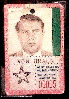 von Braun's badge at ABMA (1957)