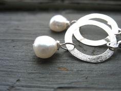 Pearl earrings Silver White Pearl Hoop by LuminousCreation on Etsy, $15.00