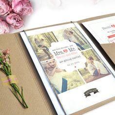 Pocketfold trouwkaart met dagkaartje en rsvp | kraft | trouwkaart met foto's | mr & mrs | weddinginvite | luxe pocketfolds | #charlyfine.nl