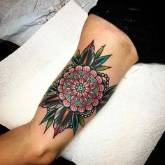 Geometric Flower Tattoo by Kirk Jones