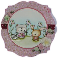 Image - Joey Raccoon, Chloe Bunny, Blooms (daisies), Blooms (pompoms) Sentiment (card #2) - Britannia dies Colouring - Distress Ink Reinkers Lili of the Valley Perfect Pair paper pad Stazon Ink Pad The Langton Watercolour paper Wild Orchid Craft Flowers Crystal Glamour Dust Go Kreate Labels nested die Lawn Fawn Large Stitched Circles dies Lawn Fawn Large Stitched Circle dies 15mm Spotty Ribbon Flat Backed Pearls Glossy Accents