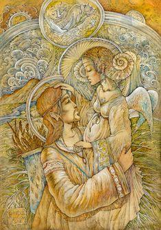 "Veda Ram ""Счастье Славян"" Russian Folk, Divine Feminine, Archetypes, Beautiful Paintings, Animal Kingdom, Mythology, Mystic, Art Gallery, Fantasy"