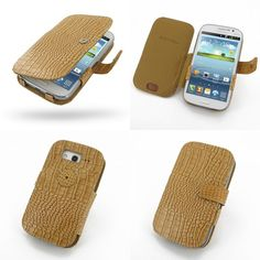 PDair Leather Case for Samsung Galaxy Grand Duos GT-i9082 GT-i9080 - Book Type (Brown/Crocodile Pattern)