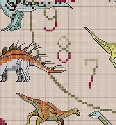 Dinosaur Cross Stitch Clock Chart / Pattern by IpeksGemBoxUK