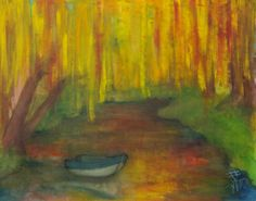 laburnums and lake / oil,canvas