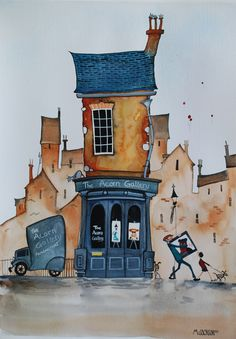 Mike Jackson did us this painting of the gallery when we opened! He has since done several 'Quirky' paintings of customer houses too! Would you like yours done? :)