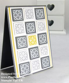 handmade card  from Pootles: Sunny Hello  ... inchies in a 35 grid ... trendy grays, white and yellow ... balanced pattern  ... like the design ... Stampin' Up!