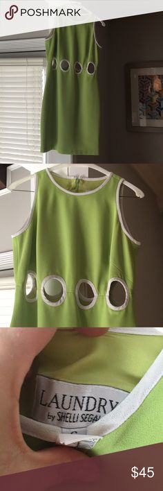 Amazing vintage cut out Laundry Lime green 👗 Recently dry cleaned but has some signs of wear (as pictured), but very very hard to see. 8 circle cut outs with cream trim. Worn to a derby party and I felt just like Julia Roberts in Pretty Woman (post rodeo drive shopping) Laundry By Shelli Segal Dresses