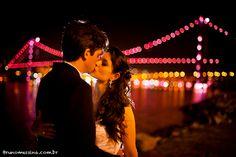pink lights on the bridge - #wedding #breastcancerawarenessmonth #brazil #brunomessina