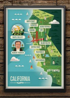 Majestic Wine Map of California by Neil Stevens... This is awesome!