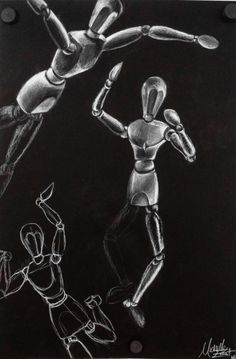 Mannequin Body Proportions Lesson -white charcoal on black paper