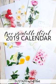 2019 Calendar Printable Free Template. 2019 monthly free printable wall or desk calendar. Monthly floral calendar pages from January through December with an area for notes. #sustainmycrafthabit #2019calendar #freeprintables #organize #printablecalendars #free2019calendar #printables