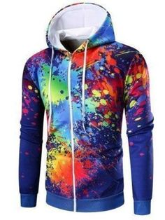 2017 New Arrival Male Hoody Long Sleeve Hoodies Men Print Mens Sweatshirts Hip Hop Sudaderas Hombre Colorful Men Hoodie Hoodie Sweatshirts, Mens Zip Up Hoodies, Cool Hoodies, Hoody, Zip Hoodie, Men's Coats And Jackets, Swagg, Paint Splatter, Clothes