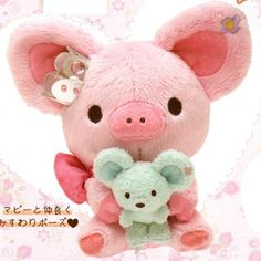 "San-X Piggy Girl 6.5"" Plush Set: Piggy Girl Holding Blue Mouse"