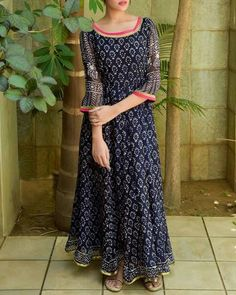 Navy Hand Block Printed Anarkali I Shop at :http://www.thesecretlabel.com/kapraha