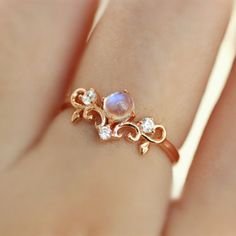 Rose Gold Plated 925 Silver Moonstone Princess Crown Ring - would like with real yellow gold and moissanite for the small stones Cute Jewelry, Gold Jewelry, Jewelry Rings, Jewelry Accessories, Jewelry Design, Jewelry Ideas, Jewlery, Gold Necklaces, Silver Bracelets