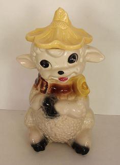Cute Vintage American Bisque Ceramic Cookie Jar Lamb Sheep Wearing Flower Hat #Vintage #AmericanBisque #Ceramic #CookieJar #Lamb #Sheep #Animal #Kitsch #Kitschy #1950s #50s