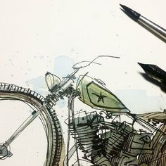 Messing with the same image. by captain_tom (Tom Pajdlhauser). Motorcycle Posters, Motorcycle Art, Bike Art, Scooter Moto, Bike Sketch, Tattoo Stencils, Art Sketchbook, Art Sketches, Watercolor Art