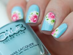 "Rose Nail Art Inspired by Cath Kidston by ""Paulina's Passions"" ✿≻⊰❤⊱≺✿"