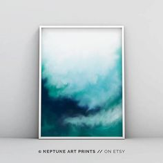 Modern Teal Wall Art Abstract Teal Print Teal Watercolour