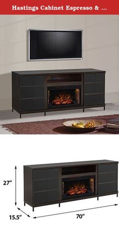 """Hastings Cabinet Espresso & 28"""" Infrared Firebox. The Hastings Infrared Electric Fireplace Entertainment Center is a simple design for those with a more minimalist design aesthetic. The cabinet features a rich, dark Espresso finish, an open center media shelf and two side cabinets fronted by two """"press to open"""" glass doors. Each cabinet features 3 adjustable shelves for housing your DVD collection and electronic accessories. You'll be able to create an envious home theater setup with the..."""