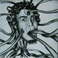 Self tentacle portrait (Dry point-engraving)