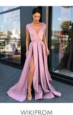 A-Line/Princess Sleeveless V-Neck Floor-Length Ruffles Satin Dresses, This dress could be custom made, there are no extra cost to do custom size and color Prom Dresses With Pockets, A Line Prom Dresses, Satin Dresses, Prom Gowns, Dresses Dresses, Cheap Evening Dresses, Cheap Prom Dresses, Semi Casual Dresses, Dress Formal