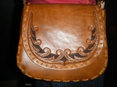 Etsy の Hand Tooled leather Handbag Purse by TriangleLeather