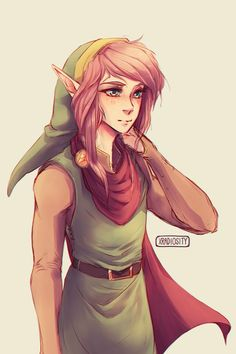Pinkhaired!Link because of reasons ヾ(o´∀`o)ノ #alttp #legendofzelda (Artwork by 「 rad 」 (@xradiosity) | Twitter)