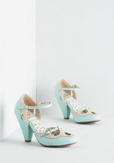 Triple Your Fancy Heel in Mint. Buckle these adorable mint heels from Bettie Page to infuse your look with not one, not two, but three times the charm! #blue #modcloth