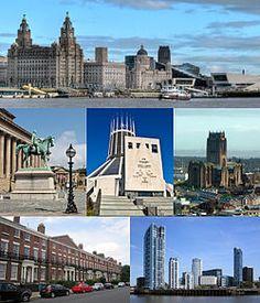 Liverpool-Desde la parte superior izquierda: Pier Head y el Mersey Ferry; Salón de San Jorge y la Galería de Arte Walker, la catedral católica de Liverpool; Liverpool Catedral Anglicana; Arquitectura georgiana en Canning; Princes Dock.
