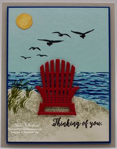 Stampin' Up! High Tide Thinking of You Card – Stampin' in the Meadows High Tide Stampin Up, Nautical Cards, Beach Cards, Step Cards, Hand Stamped Cards, Get Well Cards, Handmade Birthday Cards, Watercolor Cards, Masculine Cards
