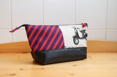 Cosmetic or Toiletry Bag in Echino Scooter and Black vegan leather Faux Leather Fabric, Black Faux Leather, Echino, Toiletry Bag, Red Purple, Cotton Linen, Vegan Leather, Cleaning Wipes, Pouch
