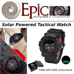 EPIC Solar Powered Tactical Watch Camping Hiking #EPIC #Military