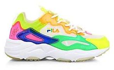 FILA Women's Ray Tracer Patchwork Neon Sneakers   Neon