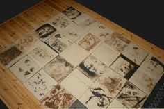 Part of my new art work about abuse of women. Own drawings on ceramic tiles.