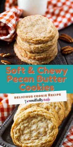 These Chewy Pecan Butter Cookies are soft with a chewy texture, nice crisp edges, and exploding with pecan flavor! The incredible taste of butter pecan wrapped up cookie form! Speculoos Cookies, Eggnog Cookies, Spritz Cookies, Butter Cookies Recipe, Roll Cookies, Molasses Cookies, Cut Out Cookies, Sandwich Cookies, Yummy Cookies