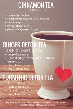For glowing skin & healthy body, awesome detox tea recipes! #detoxtea #teatox #cinnamon