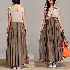 Mixed colors sleeveless loose sleeveless summer dress by dreamyil, $108.00 dark blue for me